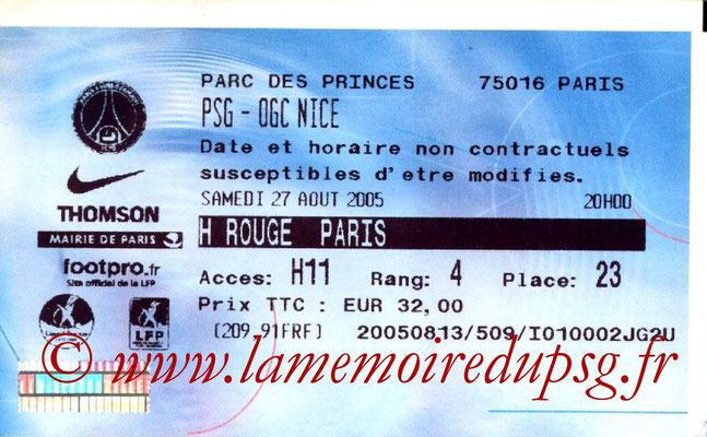 Tickets  PSG-Nice  2005-06