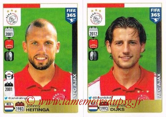 2015-16 - Panini FIFA 365 Stickers - N° 648-649 - Johnny HEITINGA + Mitchell DIJKS (AFC Ajax)