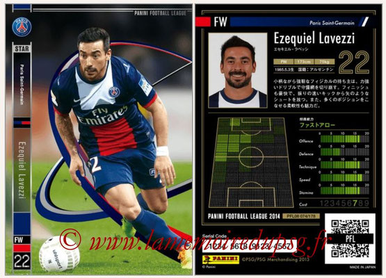 Panini Football League 2014 - PFL08 - N° 074 - Ezequiel LAVEZZI (Paris Saint-Germain)