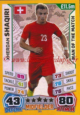 Topps Match Attax England 2014 - N° 265 - Xherdan SHAQIRI (Suisse) (Man Of The Match)