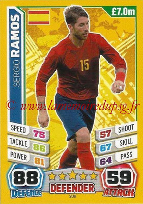 Topps Match Attax England 2014 - N° 206 - Sergio RAMOS (Espagne)