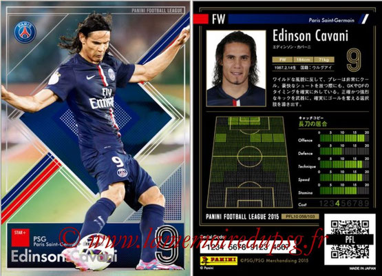 Panini Football League 2015 - PFL10 - N° 058 - Edinson CAVANI (Paris Saint-Germain) (Star +)