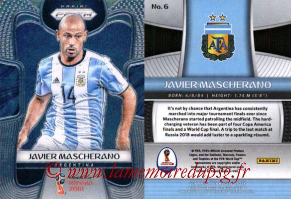 2018 - Panini Prizm FIFA World Cup Russia - N° 006 - Javier MASCHERANO (Argentine)