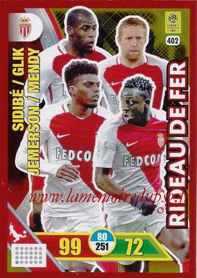 2017-18 - Panini Adrenalyn XL Ligue 1 - N° 402 - SIDIBE + GLIK + JEMERSON + MENDY (Monaco) (Rideau de Fer)