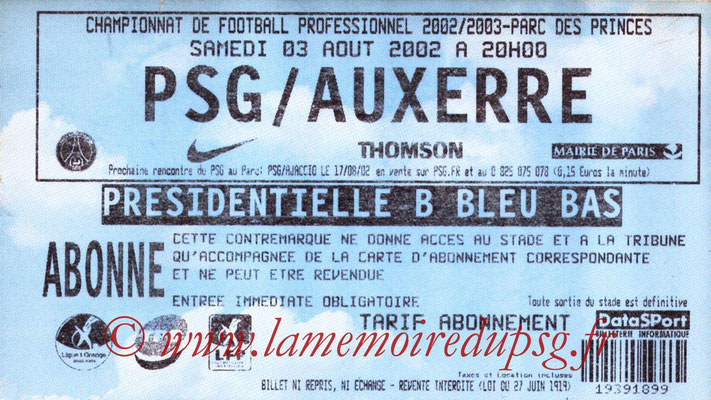 Tickets  PSG-Auxerre  2002-03