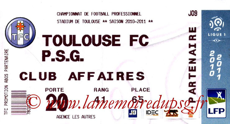 Tickets  Toulouse-PSG  2010-11