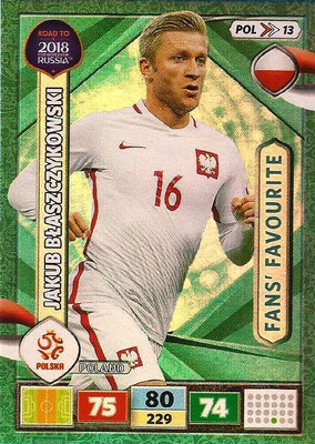 2018 - Panini Road to FIFA World Cup Russia Adrenalyn XL - N° POL13 - Jacob BLASZCZYKOWSKI (Pologne) (Fans' Favourite)