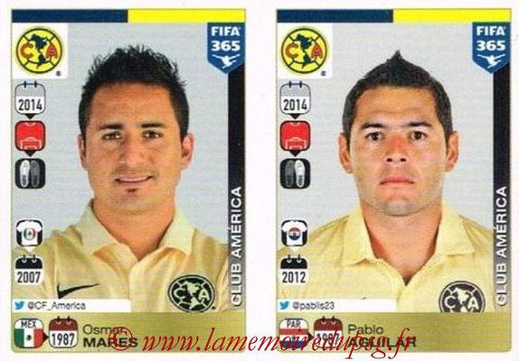 2015-16 - Panini FIFA 365 Stickers - N° 616-617 - Osmar MARES + Pablo AGUILAR (Club America)