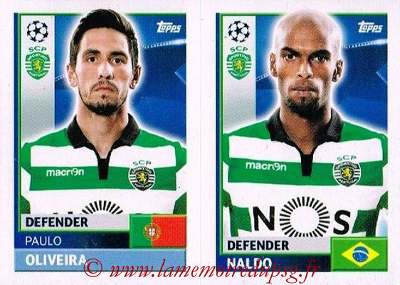 2016-17 - Topps UEFA Champions League Stickers - N° SPO 8-9 - NALDO + Paulo OLIVEIRA (Sporting CP)