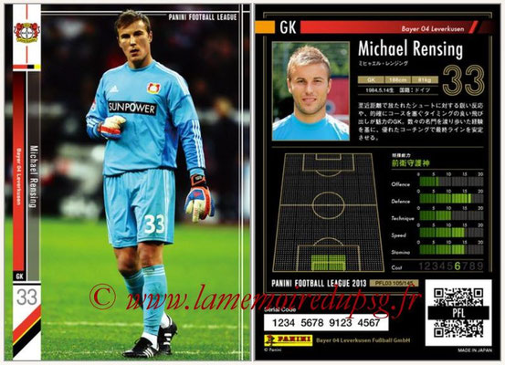 Panini Football League 2013 - PFL03 - N° 105 - Michael Rensing (Bayer Leverkusen)