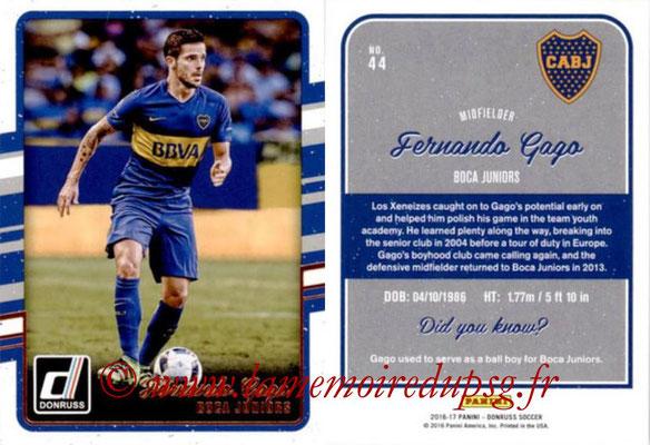 2016 - Panini Donruss Cards - N° 044 - Fernando GAGO (CA Boca Juniors)
