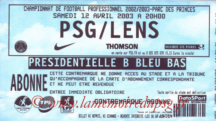 Tickets  PSG-Lens  2002-03