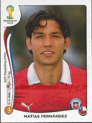 2014 - Panini FIFA World Cup Brazil Stickers - N° 157 - Matias FERNANDEZ (Chili)