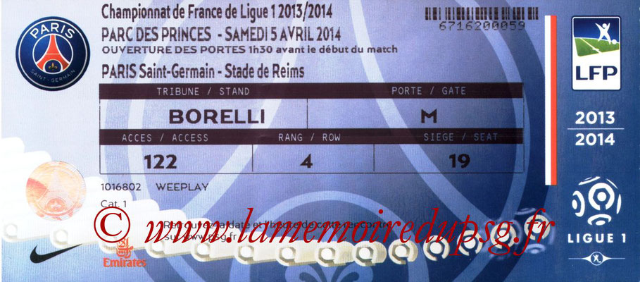 Tickets  PSG-Reims  2013-14