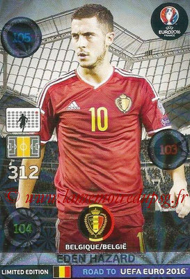 Panini Road to Euro 2016 Cards - N° LE-EH - Eden HAZARD (Belgique) (Limited Edition)