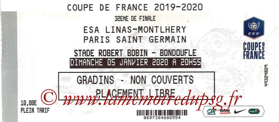 Ticket  Linas Montlhery-PSG  2019-20