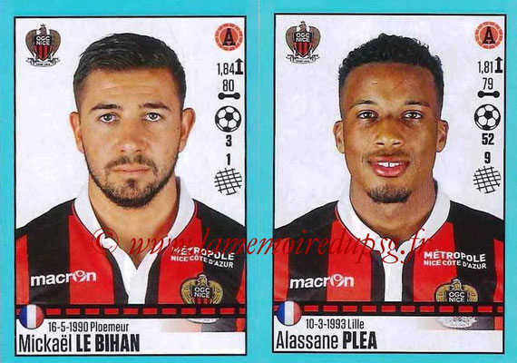 2016-17 - Panini Ligue 1 Stickers - N° 672 + 673 - Mickaël LE BIHAN  + Alassane PLEA (Nice)