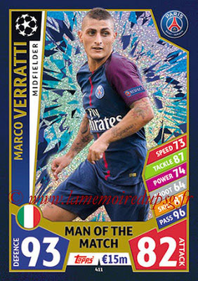 2017-18 - Topps UEFA Champions League Match Attax - N° 411 - Marco VERRATTI (Paris Saint-Germain) (Man Of the Match)