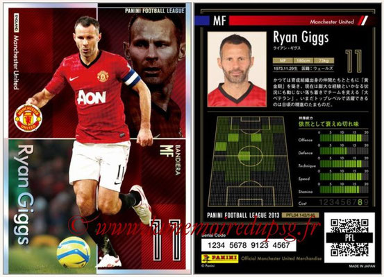 Panini Football League 2013 - PFL04 - N° 142 - Ryan GIGGS (Manchester United) (Bandiera)