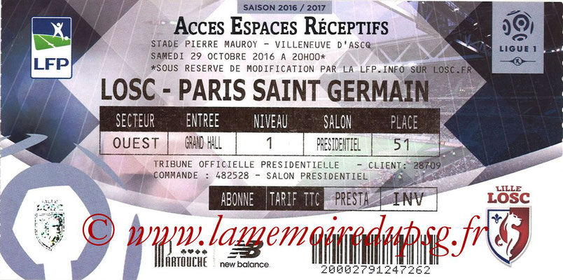 Tickets  Lille-PSG  2016-17