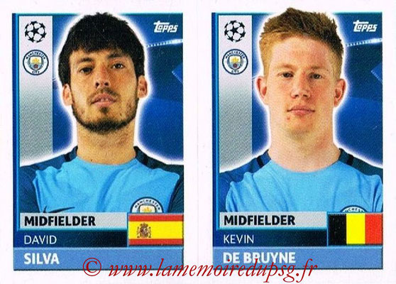 2016-17 - Topps UEFA Champions League Stickers - N° QFG 11-12 - Kevin DE BRUYNE + David SILVA (Manchester City FC)