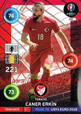Panini Road to Euro 2016 Cards - N° 237 - Caner ERKIN (Turquie)