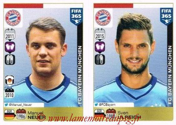 2015-16 - Panini FIFA 365 Stickers - N° 462-463 - Manuel NEUER + Sven ULREICH (FC Bayern Munich)