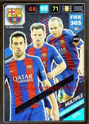 2017-18 - Panini FIFA 365 Cards - N° 445 - Sergio BUSQUETS + Ivan RAKITIC + Andrés INIESTA (FC Barcelone) (Midfield Engine)