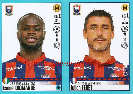 2016-17 - Panini Ligue 1 Stickers - N° 158 + 159 - Ismaël DIOMANDE + Julien FERET (Caen)