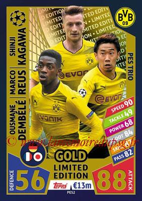 2017-18 - Topps UEFA Champions League Match Attax - N° PES2 - Ousmane DEMBELE + Marco REUS + Shinji KAGAWA (Borussia Dortmund) (PES Trio)