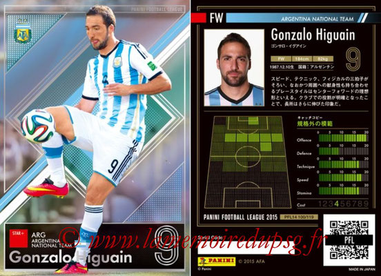 Panini Football League 2015 - PFL14 - N° 100 - Gonzalo HIGUAIN (Argentine) (Star +)
