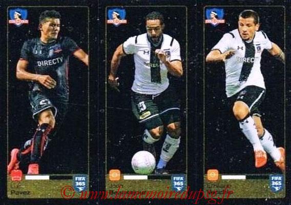 2015-16 - Panini FIFA 365 Stickers - N° 233-234-235 - Luis PAVEZ + Jean BEAUSEJOUR + Emiliano VECCHIO (Colo Colo)