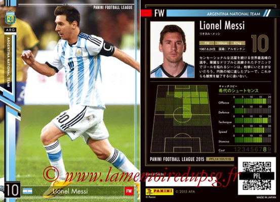 Panini Football League 2015 - PFL14 - N° 101 - Lionel MESSI (Argentine)