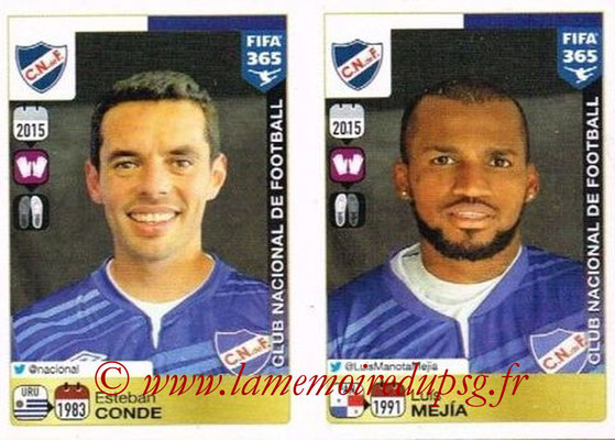 2015-16 - Panini FIFA 365 Stickers - N° 792-793 - Esteban CONDE + Luis MEJIA (Club Nacional de Football)