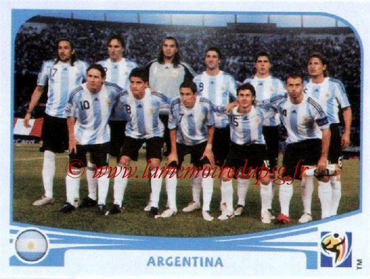 2010 - Panini FIFA World Cup South Africa Stickers - N° 106 - Équipe Argentine