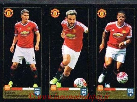 2015-16 - Panini FIFA 365 Stickers - N° 330-331- 332 - Bastian SCHWEINSTEIGER + Juan MATA + MEMPHIS Depay (Manchester United FC)