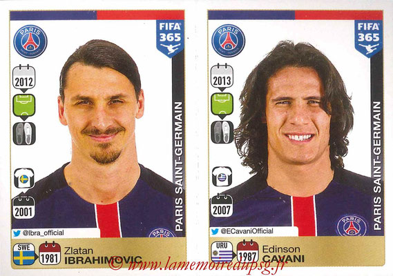 2015-16 - Panini FIFA 365 Stickers - N° 459-460 - Zlatan IBRAHIMOVIC + Edinson CAVANI (Paris Saint-Germain)