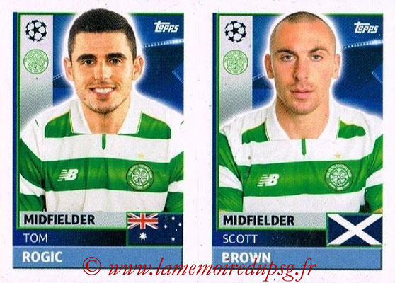 2016-17 - Topps UEFA Champions League Stickers - N° QFB 9-10 - Scott BROWN + Tom ROGIC (Celtic FC)