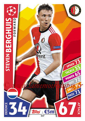2017-18 - Topps UEFA Champions League Match Attax - N° 357 - Steven BERGHUIS (Feyenord)