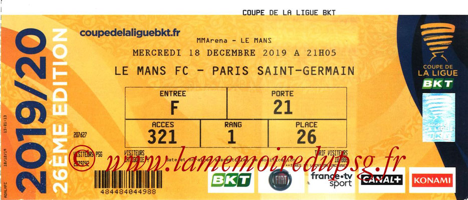 Ticket  Le Mans-PSG  2018-19