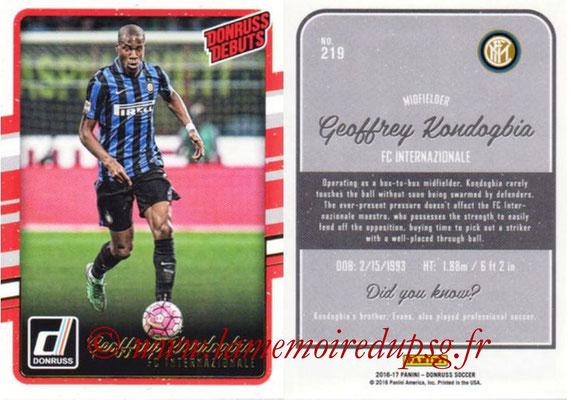 2016 - Panini Donruss Cards - N° 219 - Geoffrey KOMDOGBIA (FC Internazionale) (Donruss Debuts)