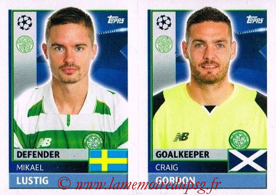 2016-17 - Topps UEFA Champions League Stickers - N° QFB 3-4 - Craig GORDON + Mikael LUSTIG (Celtic FC)
