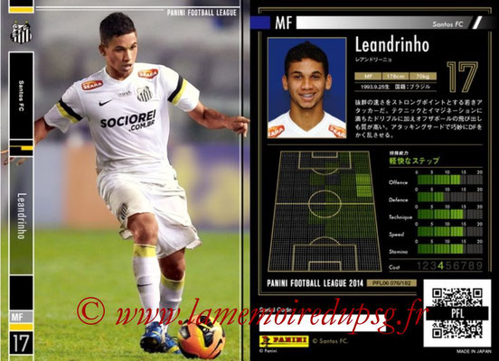 Panini Football League 2014 - PFL06 - N° 076 - LEANDRINHO (Santos FC)