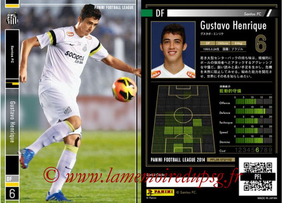 Panini Football League 2014 - PFL06 - N° 072 - Gustavo HENRIQUE (Santos FC)