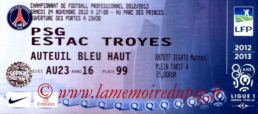 Tickets  PSG-Troyes  2012-13