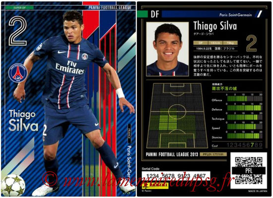 Panini Football League 2013 - PFL01 - N° 177 - Thiago Silva ( Paris Saint-Germain ) (Super DF)