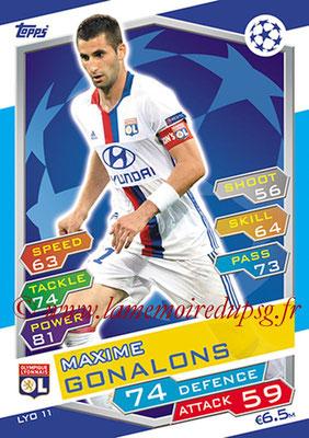 2016-17 - Topps UEFA Champions League Match Attax - N° LYO11 - Maxime GONALONS (Olympique Lyonnais)
