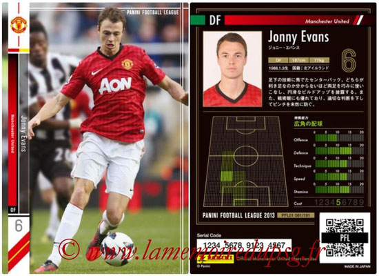 Panini Football League 2013 - PFL01 - N° 081 - Jonny Evans ( Manchester United  )