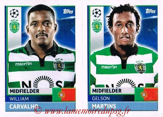 2016-17 - Topps UEFA Champions League Stickers - N° SPO 12-13 - Gelson MARTINS + William CARVALHO (Sporting CP)