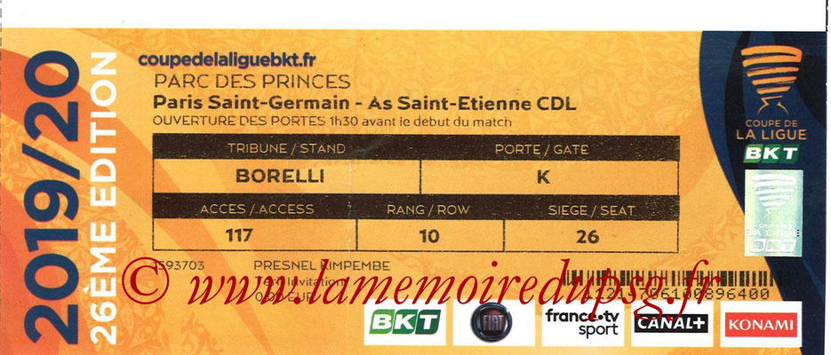 Ticket  PSG-Saint Etienne  2018-19